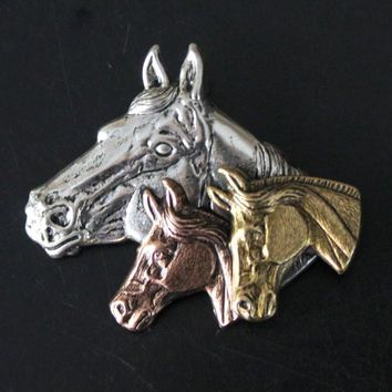 Vintage Horse Head Pin Brooch Metal Silver Copper Brass Colored