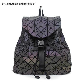 FLOWER POETRY Brand luminous Geometric Quilted Backpacks Luxury School Bags for Teenage girls college student Bag Female Mochila