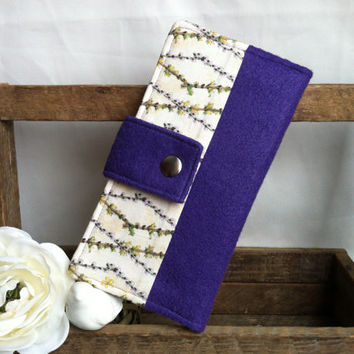Felt and floral print, handmade womens bifold wallet, credit card wallet, bill slots, coin pouch