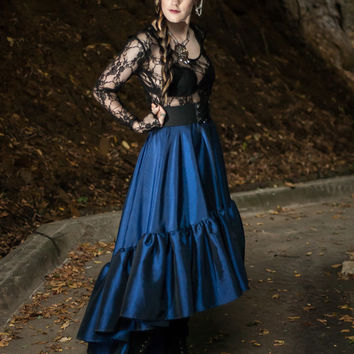 Steampunk Skirt - Dark Renissance - Victorian Gothic - Dark Blue Taffeta - Asymmetrical Circle with Ruffle-Custom to your size