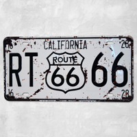 [  Sun86 ]CALIFORNIA ROUTE 66  license plate Metal Painting Vintage Wall Bar Home Art Decoration   Mix Order 30X15CM  AE-2-16