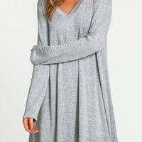 Gray V-Neck Casual Long Sleeve Dress