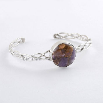 Gemstone Bangle - Mohave Copper Amethyst 17mm - Bangle Cuff - 925 Sterling Silver Bangle Jewelry, Adjustable Bracelet # 8003
