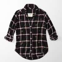 EMBELLISHED FLANNEL BUTTON-UP SHIRT