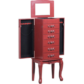 Powell Furniture Braelyn Jewelry Armoire in Red Transitional