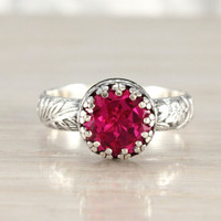 Pink Sapphire ring, sterling silver floral band, 8 mm lab created pink sapphire, crown setting, vintage style, pink ring
