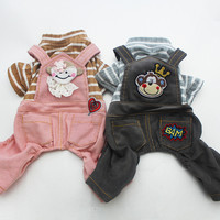 Dog Jumpsuit Pet Dress Striped&Monkey Cat Puppy Rompers Shirt Pants Spring Clothes Apperal