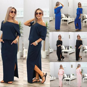 Women Boho Maxi Dress Sexy Summer Short Sleeve Side Slit Loose Evening Party Long Beach Dress with Pocket Vestidos