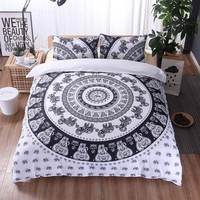 Bedding 2/3 Pcs Vintage Reactive Printing Bedding Set Duvet Cover Pillow Cover Bohemian Elephant Moon Bedclothes