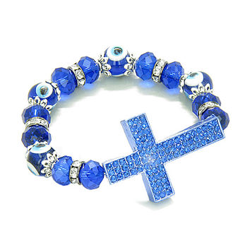 Amulet Evil Eye Protection Magic Cross Charm Spiritual Powers Bracelet Royal Blue Glass Crystals Beads