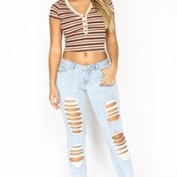 Body And Soul Ankle Jeans - Light Blue Wash