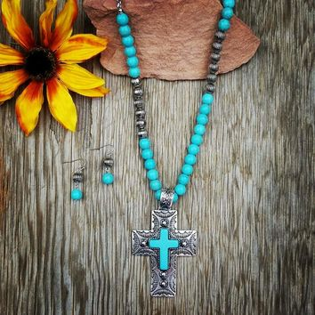 Turquoise & Silver Beaded Cross Necklace