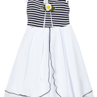 Navy Blue Striped Stretch Knit & Two Tier White Chiffon Sundress (Girls 2T - Size 12)