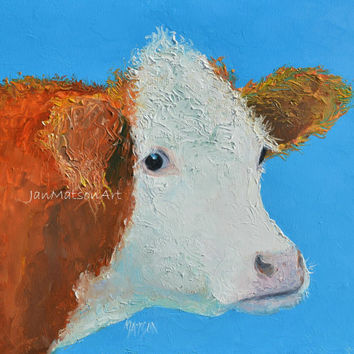 Hereford Cow painting, Animal Art, Kitchen painting, cow art, Kitchen art, designer decor, kitchen wall decor, country home decor, Etsy art