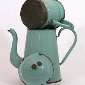 French Cafetiere - Sky Blue -Extremely Large Enamel Coffee Pot - coffee pot - vintage coffee pot - french coffee pot -enamel coffee pot