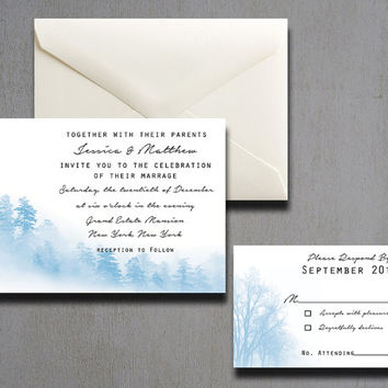 Winter Wedding Invitation - Christmas Wedding Invitations - Snow Wedding Invitations - Fall Wedding Invitations - Winter Wonderland - 7x5