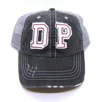 DP De Pere Trucker Hat - Gray Distressed - White Lettering with Cardinal Red Stitiching