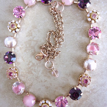 swarovski crystal choker-11mm stones- better than sabika-floral-opals-pink-GREAT PRICE-romantic