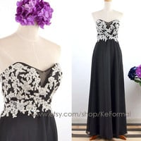 Black Lace  Prom Dresses, Strapless Sweetheart Lace Black Long Prom Gown , Lace Long Formal Dresses, Long Chiffon & Lace Prom Gown