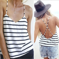 Stripe Backless Top