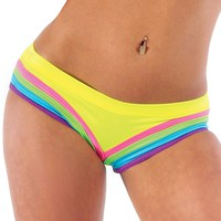 Bodyzone Rainbow Raver Shorts : Neon UV Reactive Hot Pants and Underwear