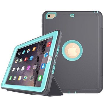 "iPad 9.7 2018/2017 Case,Hybrid Shockproof Rugged Built-in Screen Protector Stand Flip Protective Smart Case for Apple iPad 9.7"" 2018 6th Gen/2017 5th Gen (Gray+Light Blue)"