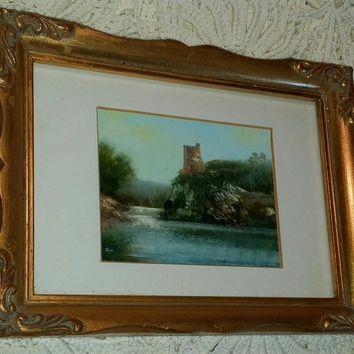 small Vtg original oil painting wood signed gilt frame Camelot Tower River Trent