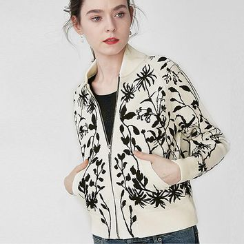 Jacket Women 66% Viscose Jacquard knitted Design O Neck Drop Shoulder Zipper Long Sleeve Pockets 2 Colors 2019 New Fashion