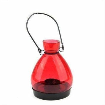 "5"" Transparent Red Glass Tapered Bottle Tea Light Candle Lantern Decoration"