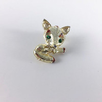 Vintage Fox Brooch Gold Toned Retro Costume Jewelry Rhinestone Eyes Retro Pin