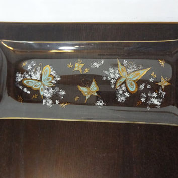 Vintage Psyche Rectangular Glass Tray with a Turquoise, Gold, and White Butterfly Design and Trim - Vanity Tray/Serving Platter