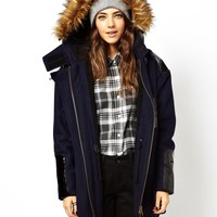 ASOS Patent Detail Parka With Stepped Hem