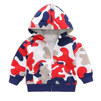 Qianquhui Autumn Winter Kids Jacket Coat Baby Boys and Girls Camouflage Long Sleeve with Hats Girl Winter Clothes Outerwear Coat