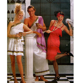 GREEK TOGA COSTUME & Flapper Girl Pattern Adult Easy to Sew Halloween Costumes Size Xs - Xl Butterick 4199 UNCuT Mens Womens Sewing Patterns