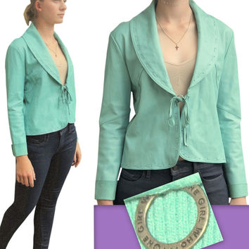 New $265 One Girl Who For Anthropologie Sweater Motorcycle Aqua Knit/Leather Jacket