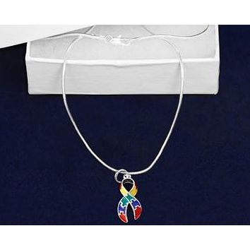 Puzzle Charm Necklace for Autism Awareness paired with Hoop Earrings