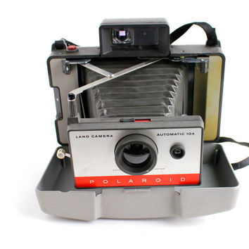 Vintage Polaroid Automatic 104 Land Camera With Hard Case - 1960s Instant Fold Up Home Decor / Accordion Photography