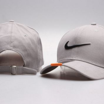 Beige Nike Hook Print Baseball Cotton Cap Hat