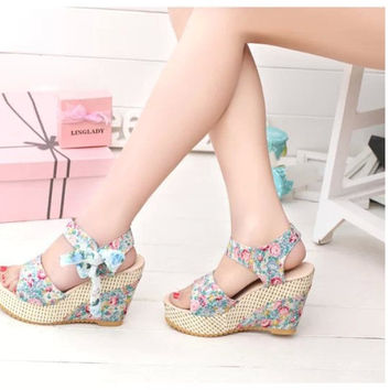 Floral Summer Bow Platform Wedges