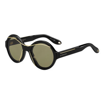 Givenchy Round Acetate Sunglasses w/Metal Wires