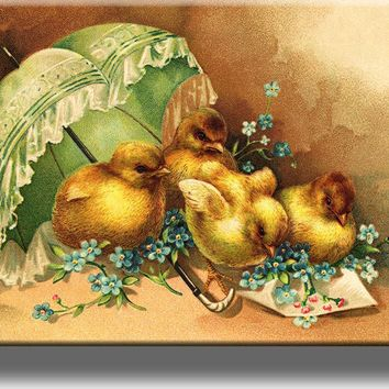 Easter Chicks under Umbrella Picture on Acrylic , Wall Art Décor, Ready to Hang!