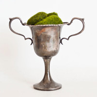 Antique Silver Plate Trophy Loving Cup, Double Handle Silverplate Vase Goblet