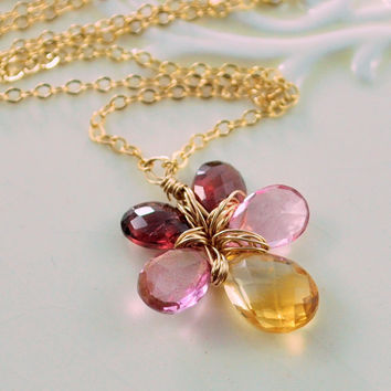 Flower Necklace Semiprecious AAA Gemstone Citrine Pink Topaz Rhodolite Garnet Wire Wrapped Gold Jewelry Complimentary Shipping