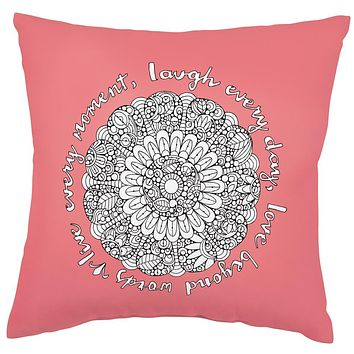 Live Every Moment Square Pillow in Coloring Book-Inspired Design