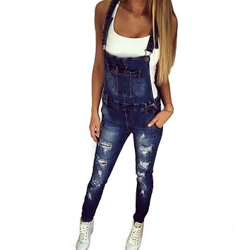 American Apparel 2017 Spring New Jeans Ripped Boyfriend Jeans For Women Skinny Overalls Jeans Denim Pants Jardineira Feminina