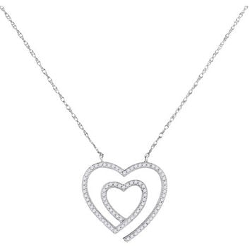 10kt White Gold Womens Round Diamond Double Heart Love Pendant Necklace 1/5 Cttw