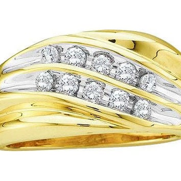 Diamond Mens Cluster Band in 10k Gold 0.5 ctw