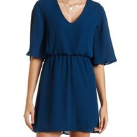 Flutter Sleeve Chiffon Dress by Charlotte Russe