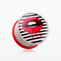 A Pair of Dripping Lip Pop Art Single Flared Ear Gauge Plug