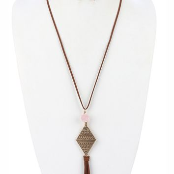 Peach Natural Stone Faux Suede Tassel Necklace And Earring Set